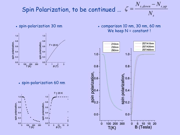 Spin Polarization, to be continued …