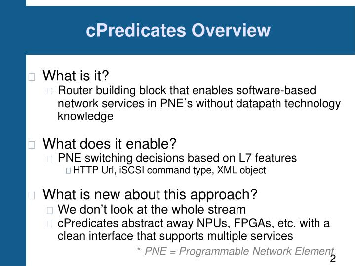 cPredicates Overview