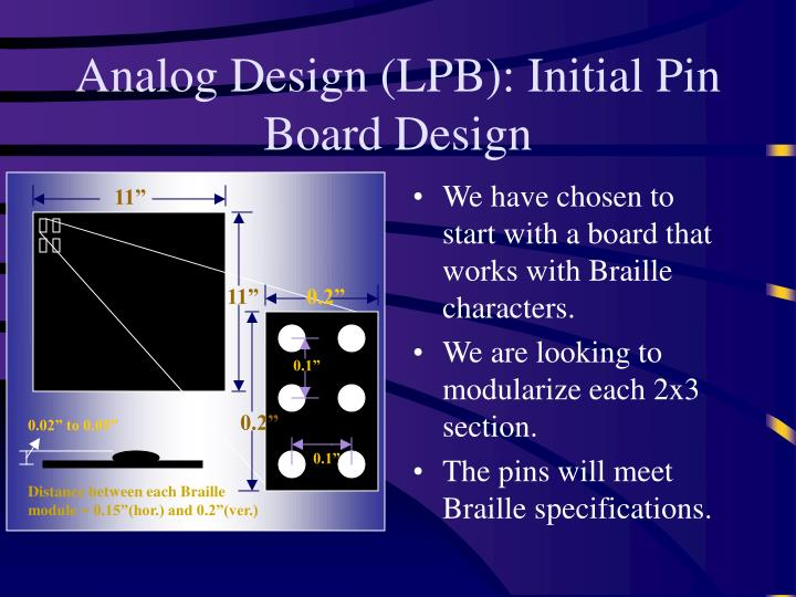 Analog Design (LPB): Initial Pin Board Design