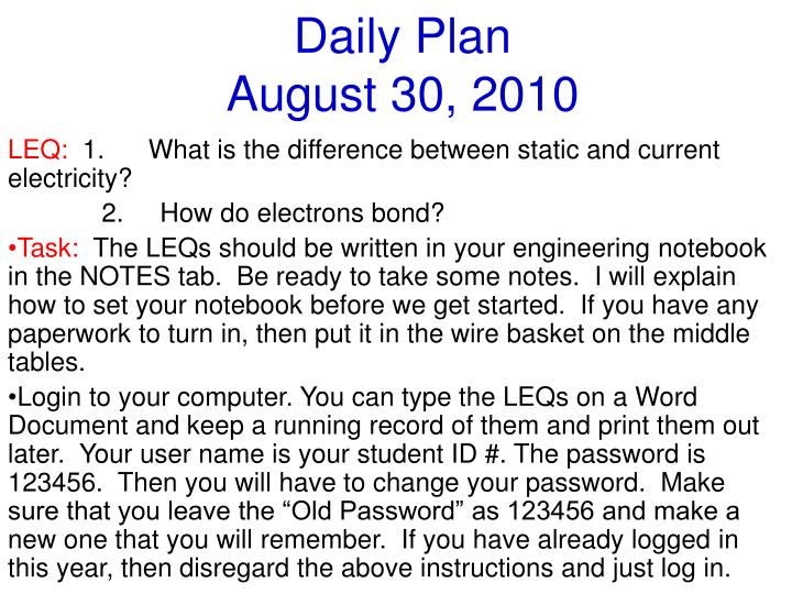 Daily plan august 30 2010