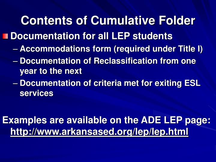 Contents of Cumulative Folder