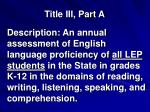 title iii part a