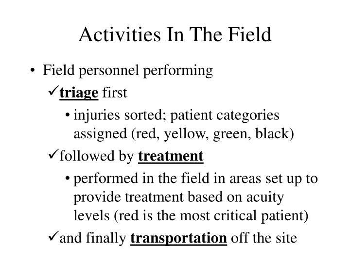 Activities In The Field