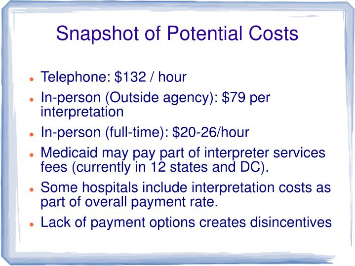 Snapshot of Potential Costs