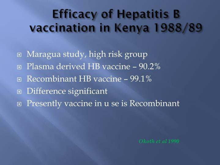 Efficacy of Hepatitis B vaccination in Kenya 1988/89