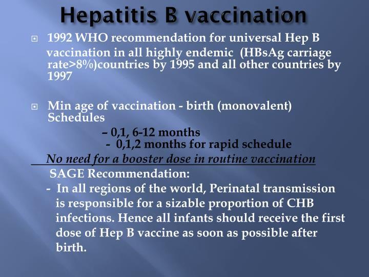 Hepatitis B vaccination