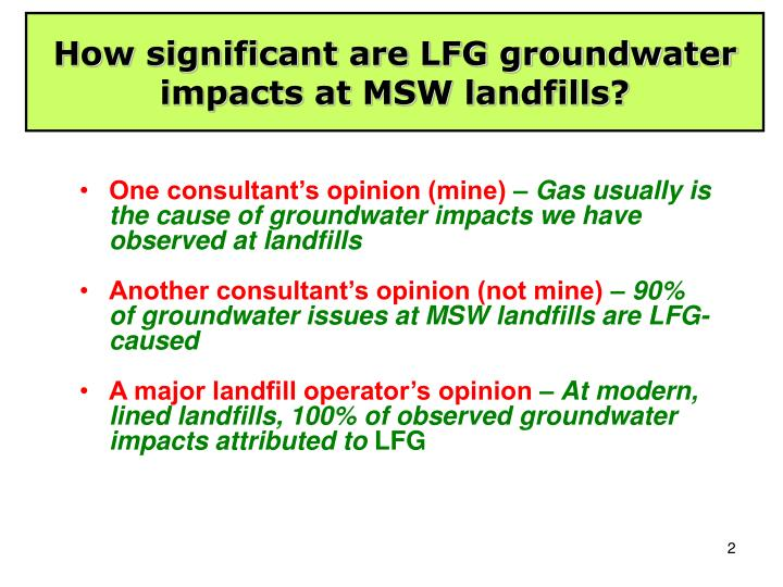 How significant are LFG groundwater impacts at MSW landfills?