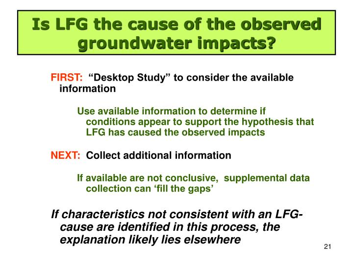Is LFG the cause of the observed groundwater impacts?