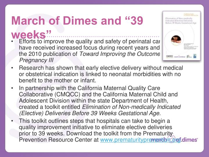 March of dimes and 39 weeks