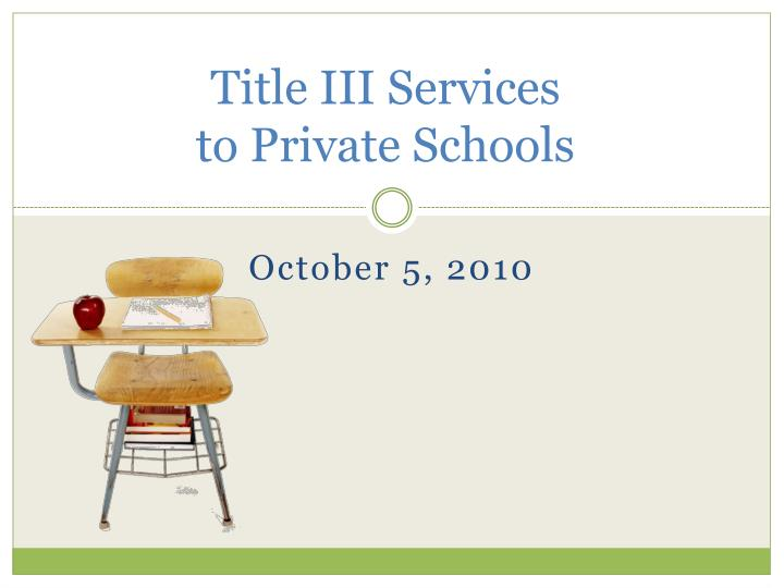 Title iii services to private schools