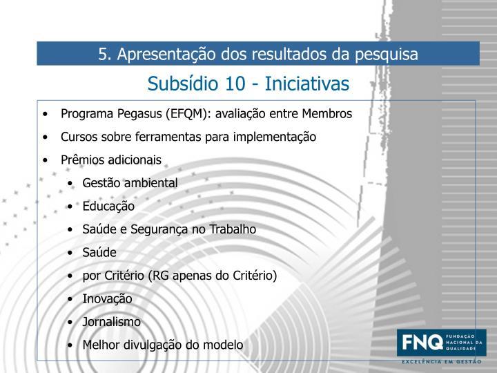 Subsídio 10 - Iniciativas