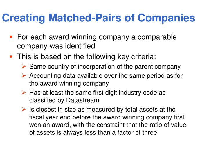 Creating Matched-Pairs of Companies