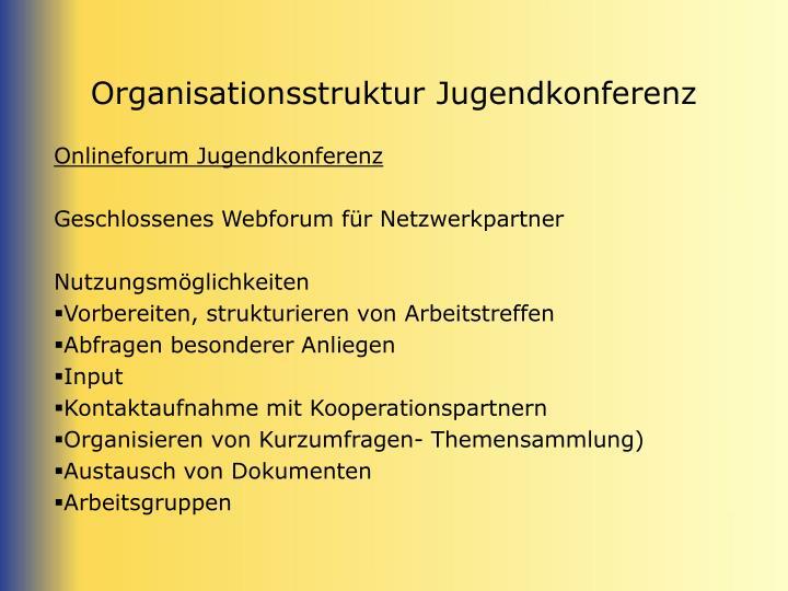 Organisationsstruktur Jugendkonferenz