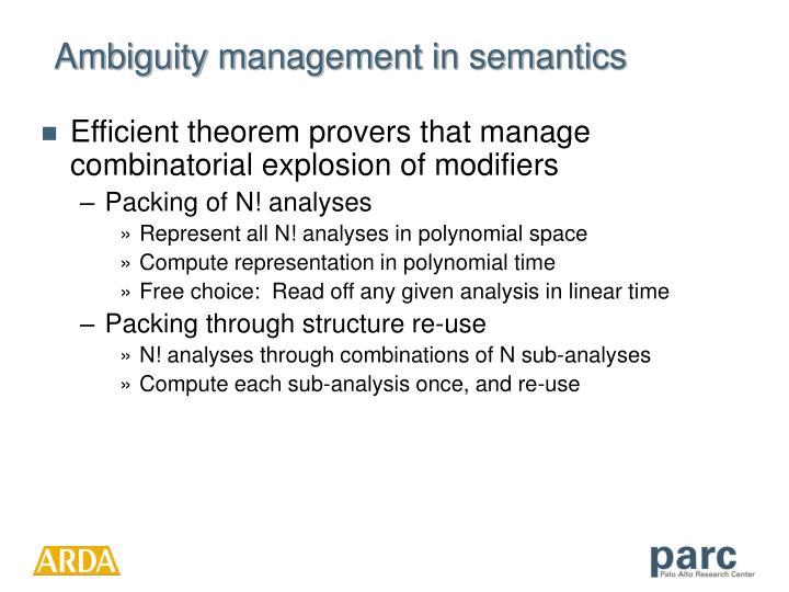 Ambiguity management in semantics