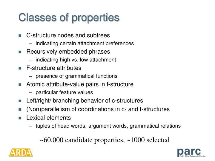 Classes of properties
