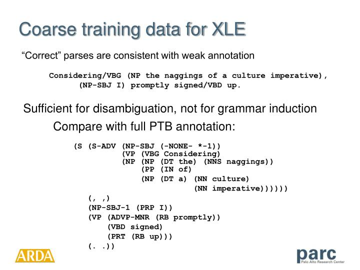 Compare with full PTB annotation: