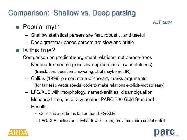Comparison:  Shallow vs. Deep parsing