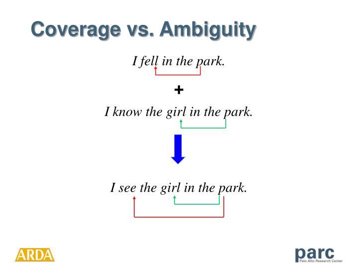 Coverage vs. Ambiguity