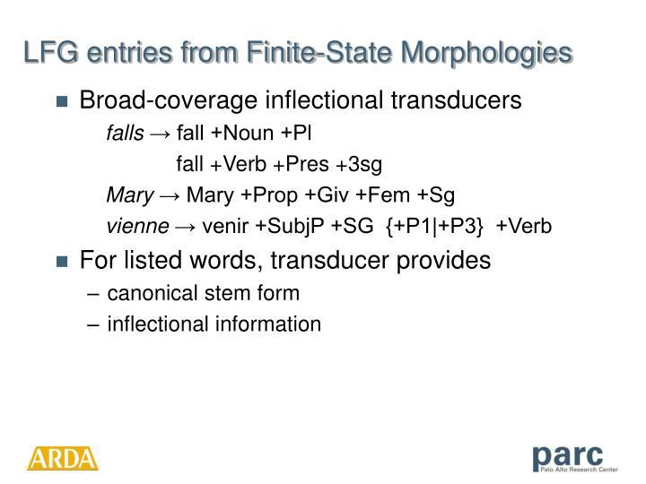 LFG entries from Finite-State Morphologies