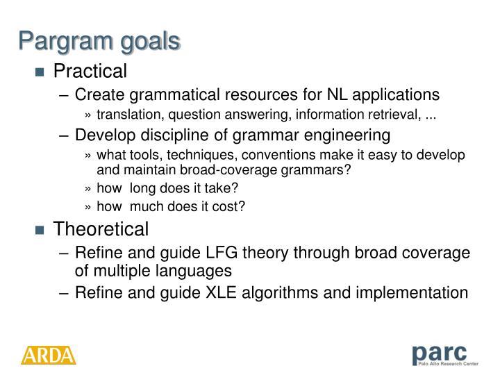 Pargram goals
