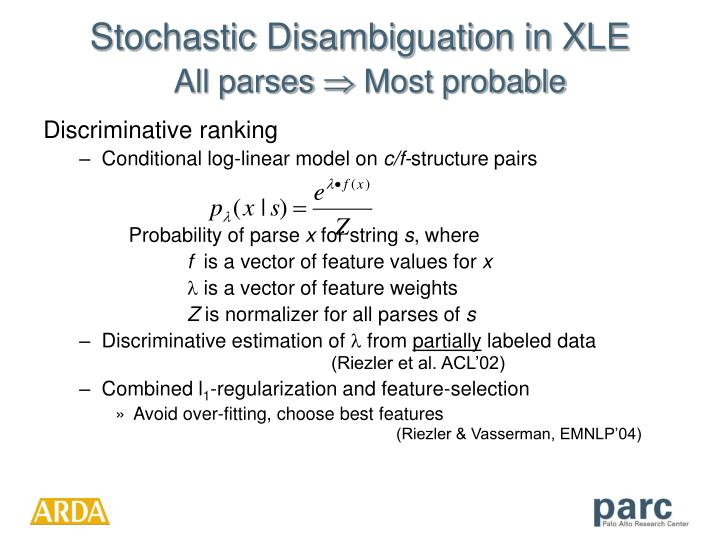 Stochastic Disambiguation in XLE