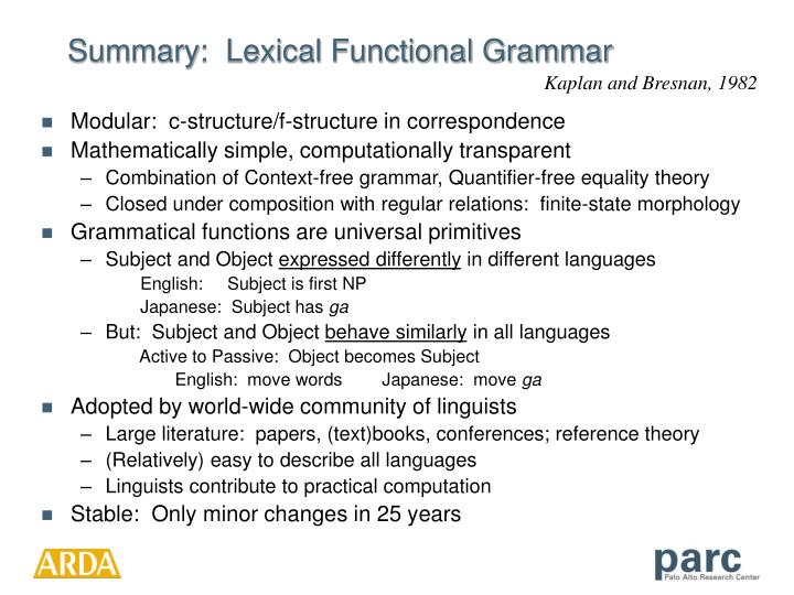 Summary:  Lexical Functional Grammar
