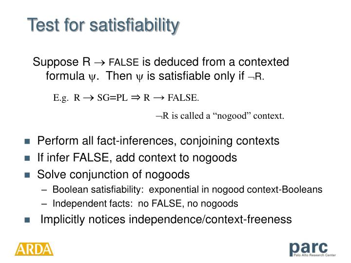 Test for satisfiability