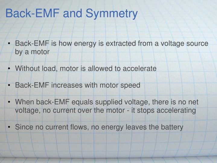 Back-EMF and Symmetry