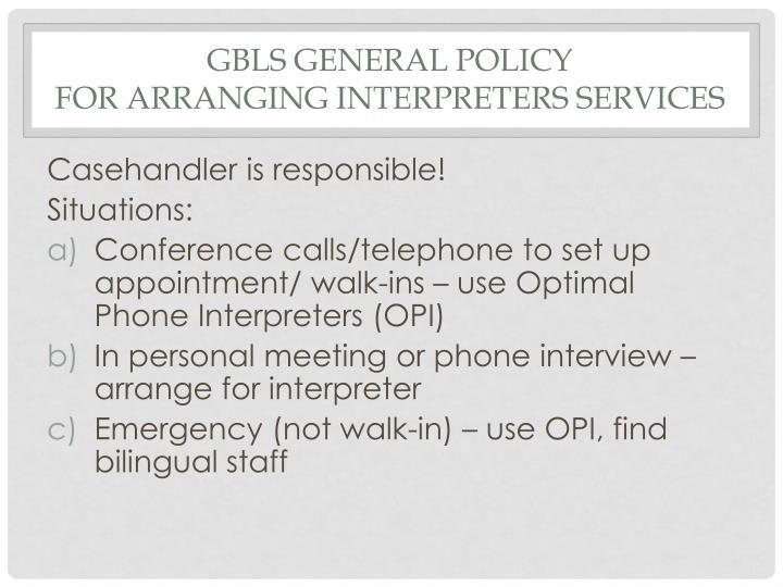 GBLS General Policy