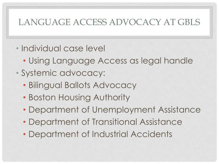 Language Access Advocacy at GBLS
