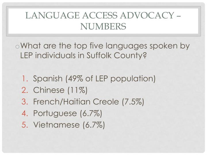 Language Access Advocacy – Numbers