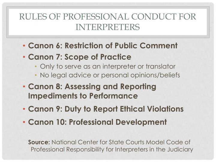 Rules of Professional Conduct for Interpreters