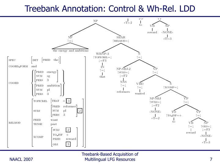 Treebank Annotation: Control & Wh-Rel. LDD