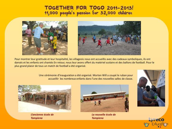 Pour montrer leur gratitude et leur hospitalité, les villageois nous ont accueillis avec des cadeaux symboliques, ils ont dansés et les enfants ont chantés En retour, nous leur avons offert du matériel scolaire et des ballons de football. Pour le plus grand plaisir de tous un match de football a été organisé.