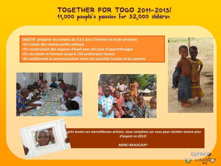 OBJETIF: preparer les enfants de 3 à 5 ans à l'entrée en école primaire.