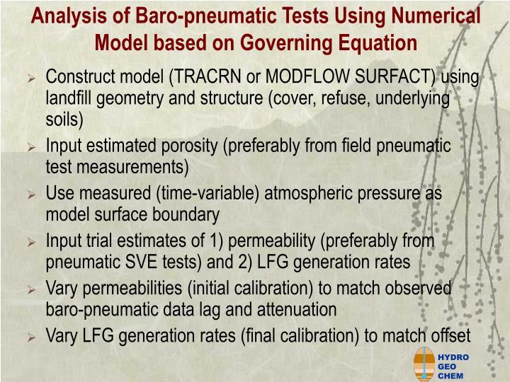 Analysis of Baro-pneumatic Tests Using Numerical Model based on Governing Equation