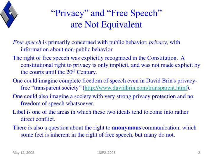 """""""Privacy"""" and """"Free Speech"""""""