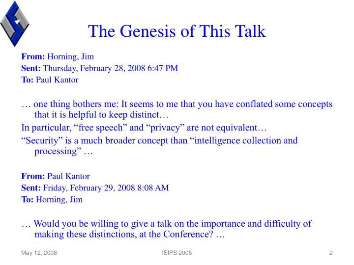 The Genesis of This Talk