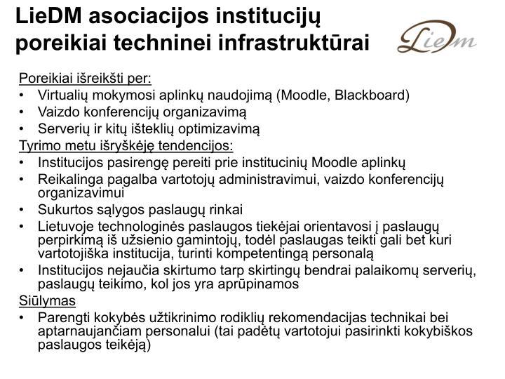 LieDM asociacijos institucijų poreikiai techninei infrastruktūrai