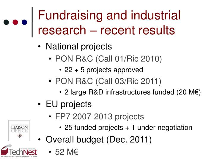 Fundraising and industrial research – recent results