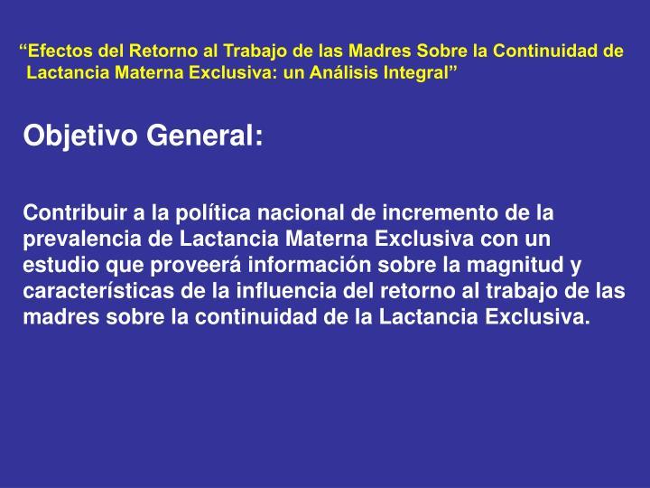 """""""Efectos del Retorno al Trabajo de las Madres Sobre la Continuidad de"""