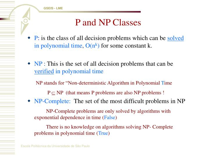 P and NP Classes