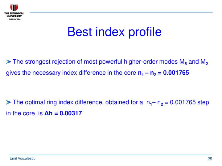 Best index profile