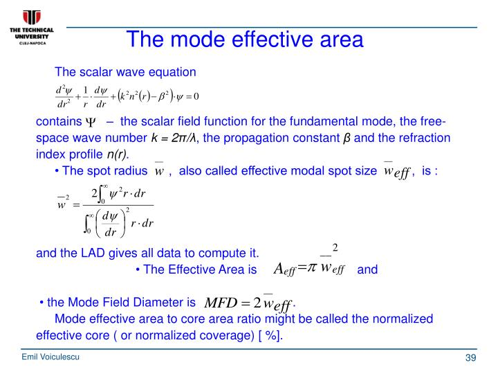 The mode effective area