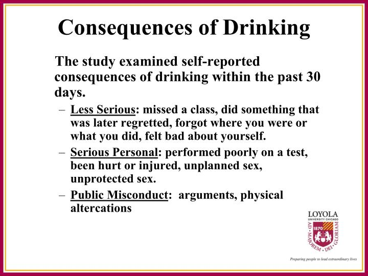 The study examined self-reported consequences of drinking within the past 30 days.