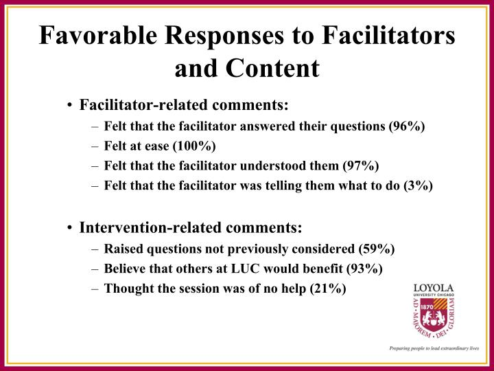Facilitator-related comments: