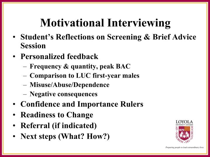 Student's Reflections on Screening & Brief Advice Session