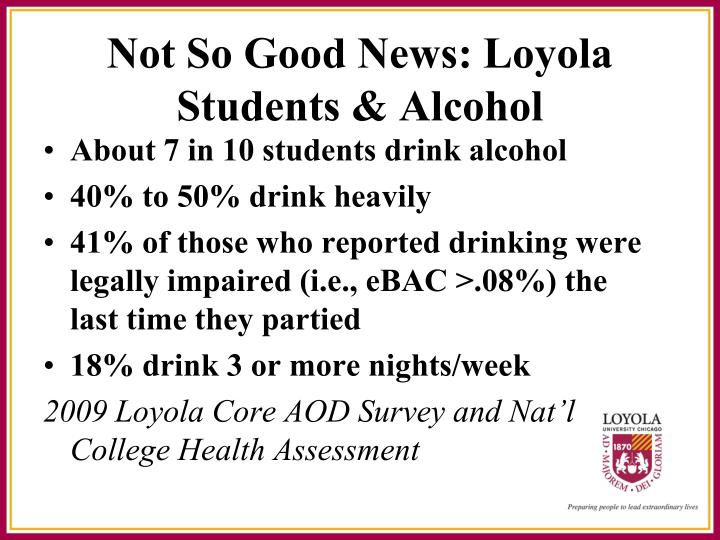 Not So Good News: Loyola Students & Alcohol