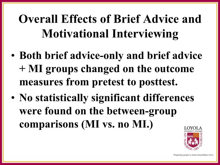 Both brief advice-only and brief advice + MI groups changed on the outcome measures from pretest to posttest.