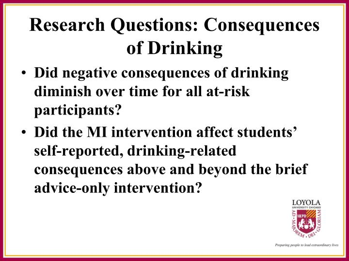Did negative consequences of drinking diminish over time for all at-risk participants?
